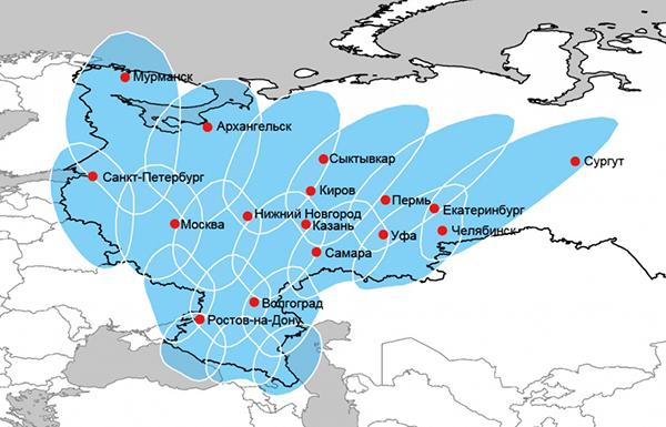 Карта покрытия интернета Триколор
